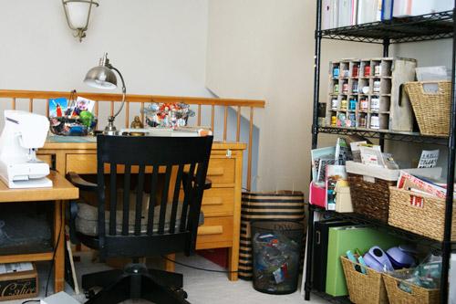 Desk-and-shelf