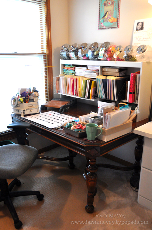 This Is My Desk. Itu0027s Actually An Antique Library Table, But I Love It For  How Deep It Is. It Allows Me To Have A Shelving Unit (salvaged From An Old  ...